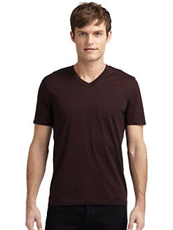 GRAY Saks Fifth Avenue - Striped V-Neck Tee