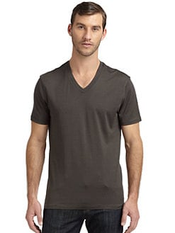 RED Saks Fifth Avenue - Silk & Cotton Striped V-Neck Tee/Olive