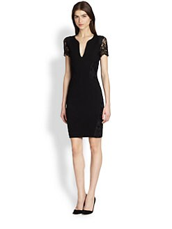 Emilio Pucci - Lace-Sleeve Sculptural-Neckline Dress