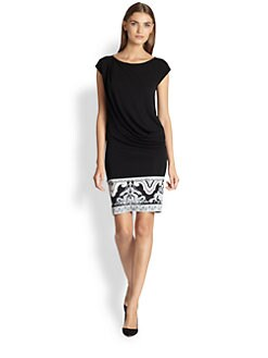 Emilio Pucci - Cap-Sleeve Printed-Hemline Dress