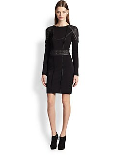 Emilio Pucci - Leather & Jersey Lace-Up Detail Dress