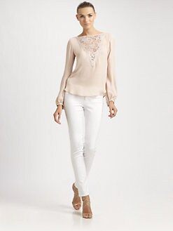Emilio Pucci - Lace-Trimmed Silk Blouse