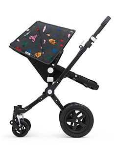 Bugaboo - Cameleon3 All Black Stroller + Andy Warhol Happy Bug Day Fabric Set