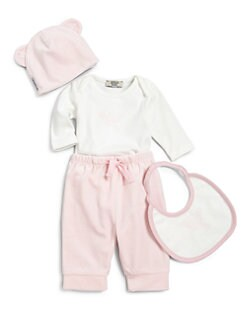 Armani Junior - Infant's Four-Piece Bodysuit, Pants, Hat & Bib Gift Set