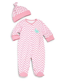 Offspring - Infant's Two-Piece Chevron Footie & Hat Set