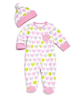 Offspring - Infant's Two-Piece Hearts Footie & Hat Set