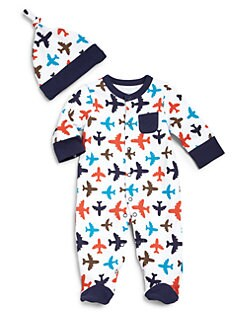 Offspring - Infant's Two-Piece Airplane Footie & Hat Set