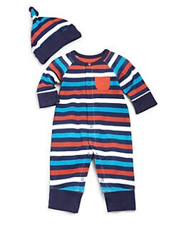 Offspring - Infant's Two-Piece Striped Coverall & Hat Set