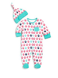 Offspring - Infant Girl's Owl-Print Two-Piece Footie & Hat Set