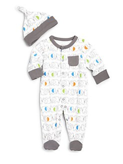 Offspring - Infant Boy's Elephant-Print Two-Piece Footie & Hat Set