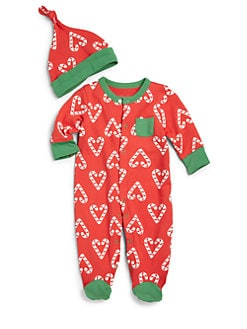 Offspring - Infant Girl's Candy Cane Two-Piece Footie & Hat Set