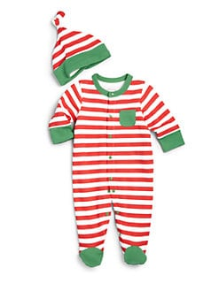 Offspring - Infant's Holiday Stripe Two-Piece Footie & Hat Set