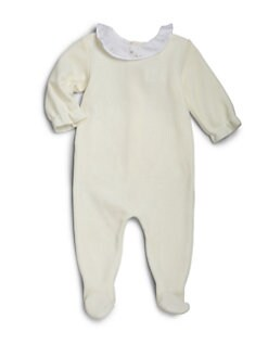 Bonpoint - Infant's Ruffled Velour Footie
