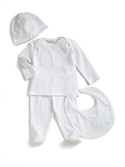 Kissy Kissy - Layette's Two-Piece Pima Cotton Bear Top & Footed Pants Set