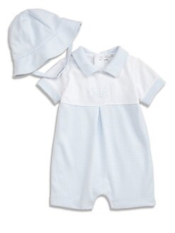 Kissy Kissy - Infant's Gingham Shortall and Hat Set