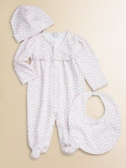 Kissy Kissy - Infant's Heart Footie, Hat & Bib Set