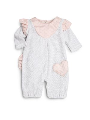 Baby's Polka-Dot Heart & Ruffle Coverall