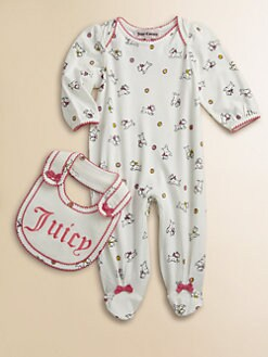 Juicy Couture - Infant's Two-Piece Dog Footie & Bib Set