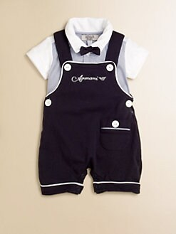Armani Junior - Infant's Three-Piece Bodysuit, Bow Tie & Overall Gift Set
