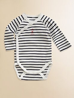 Petit Bateau - Infant's Striped Crossbody Bodysuit