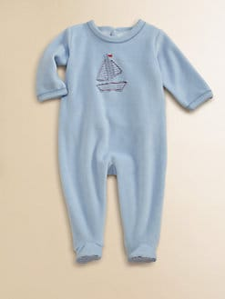 Petit Bateau - Infant's Sailboat Velour Footie
