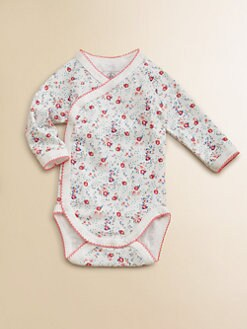 Petit Bateau - Infant's Flower Print Crossbody Bodysuit