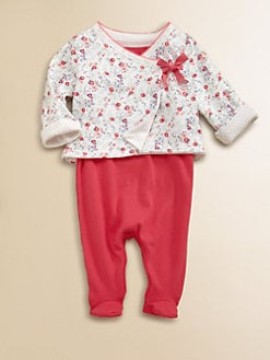 Petit Bateau - Layette's Floral Two-Piece Bodysuit & Reversible Jacket Set