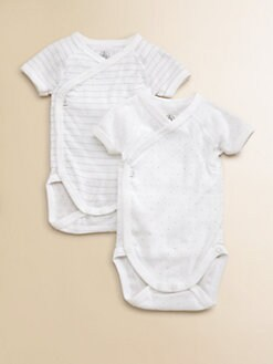 Petit Bateau - Infant's Two-Piece Silver Accented Bodysuit Set