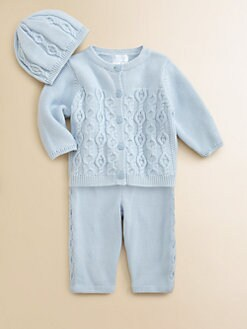 Hartstrings - Infant's Cabled Sweater, Pants & Hat Set
