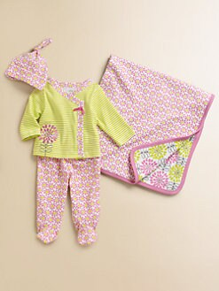 Offspring - Infant's Three-Piece Daisy Take Me Home Top, Pants & Hat Set