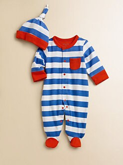 Offspring - Infant's Two-Piece Striped Footie & Hat Set