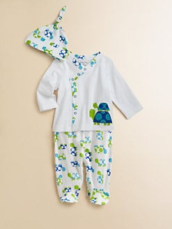 Offspring - Infant's Three-Piece Turtle Take Me Home Top, Pants & Hat Set