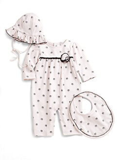 Kissy Kissy - Infant's Three-Piece Charisma Playsuit, Bib & Floppy Hat Set