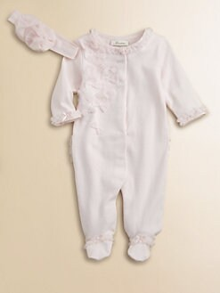 Miniclasix - Infant's Ruffled Knit Footie and Headband Set