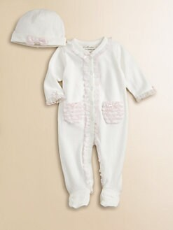 Miniclasix - Infant's Ruffle-Trimmed Knit Footie and Hat Set