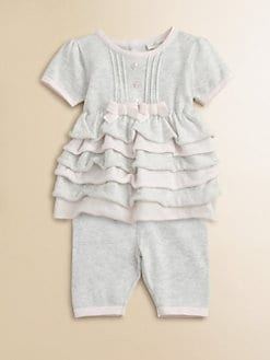 Miniclasix - Infant Girl's Knit Ruffled Tunic & Cropped Pants Set