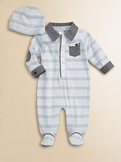 Miniclasix - Infant's Woven-Trimmed Knit Footie and Hat Set