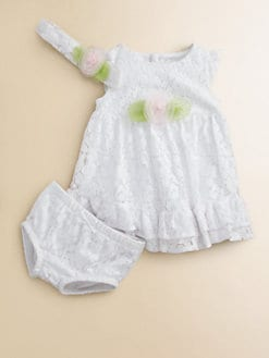 Hartstrings - Infant's Lace Rosette Dress, Headband & Bloomers Set