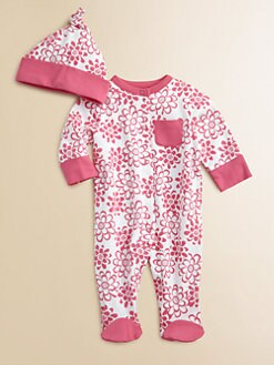 Offspring - Infant's Floral Footie and Beanie Set