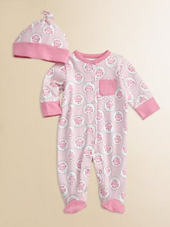Offspring - Infant's Rose Medallion Footie and Beanie Set