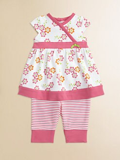 Offspring - Infant's Floral Dress and Striped Legging Set