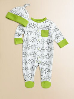 Offspring - Infant's Monkey Chain Footie and Beanie Set