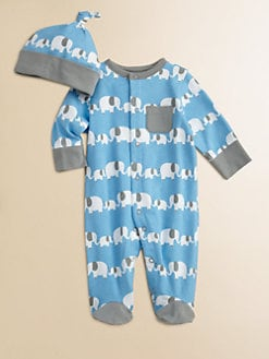 Offspring - Infant's Elephant Print Footie and Beanie Set
