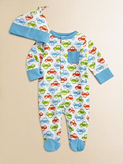 Offspring - Infant's Car Print Footie and Beanie Set