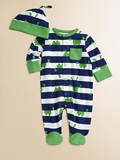 Offspring - Infant's Frog Footie and Beanie Set