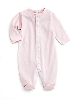 Royal Baby - Infant's Ribbon-and-Dot Trimmed Footie/Pink