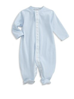 Royal Baby - Infant's Ribbon-and-Dot Trimmed Footie/Blue