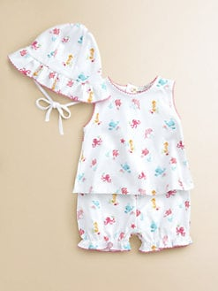 Kissy Kissy - Infant's Three-Piece Oceans Alive Top, Bloomers & Sun Hat Set