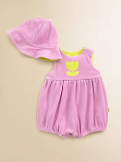 Offspring - Infant's Terry Tulip Romper & Sun Hat Set