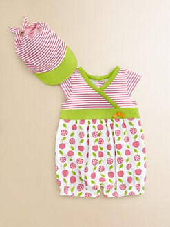 Offspring - Infant's Cherry Romper & Sun Hat Set